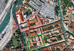 Cittadella, vista aerea (in rosso l'ex Manifattura tabacchi, in verde il carcere di Santa Maria Maggiore)